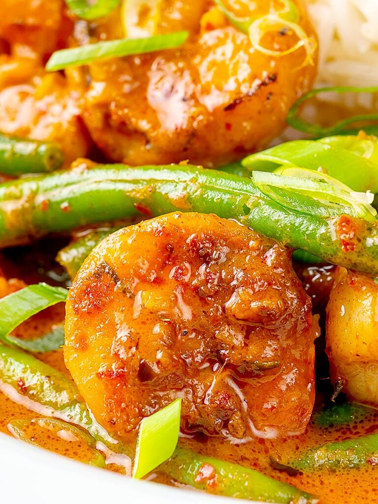Portrait close up image of a Thai red prawn curry with green beans served with green onions