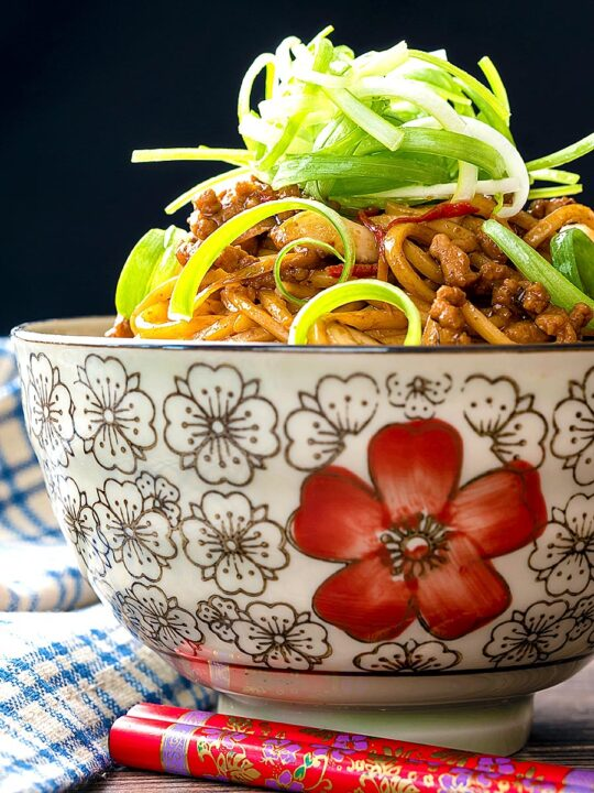 Portrait image of dan dan noodles, a Chinese stir fried minced pork recipe served in a bowl decorated with an Asian stylised flower decoration