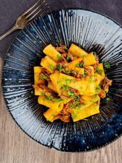 Portrait overhead image of a shredded duck ragu served with rigatoni pasta in a mottled dark blue pasta bowl