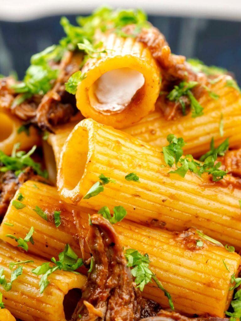 Portrait close up image of a shredded Italian duck ragu served with rigatoni pasta