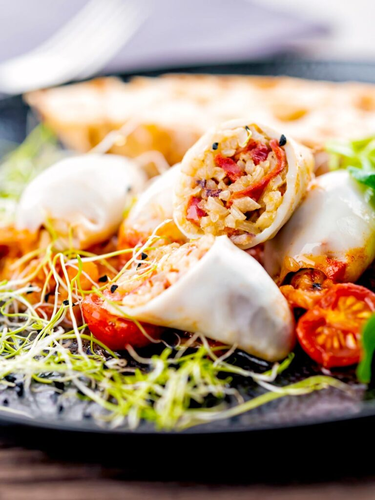 Portrait image of brown rice stuffed squid on a tomato sauce served with ciabatta bread and sprouted onion seeds