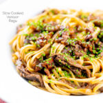 Portrait image of a venison ragu served with linguini pasta garnished with snipped chives and served in a white bowl featuring a title overlay
