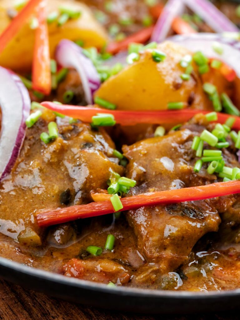 Portrait close image of aloo gosht, an Indian lamb or mutton and potato curry served sliced red onions, snipped chives and sliced red chilli pepper