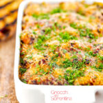 Portrait close up image of gnocchi alla Sorrentina served in a gratin dish with griddled bread featuring a title overlay