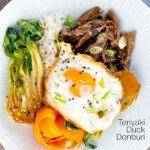 Portrait overhead image of a teriyaki duck donburi rice bowl with a fried egg & bok choi featuring a title overlay