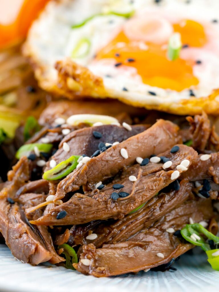 Portrait close up image of a teriyaki duck donburi rice bowl with a fried egg