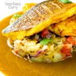 Elegant sea bass fillet curry served with fenugreek potatoes featuring a title overlay