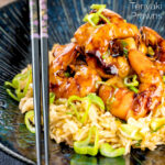 Teriyaki prawns stir fry served on egg fried rice with spring onions presented with chopsticks featuring a text overlay