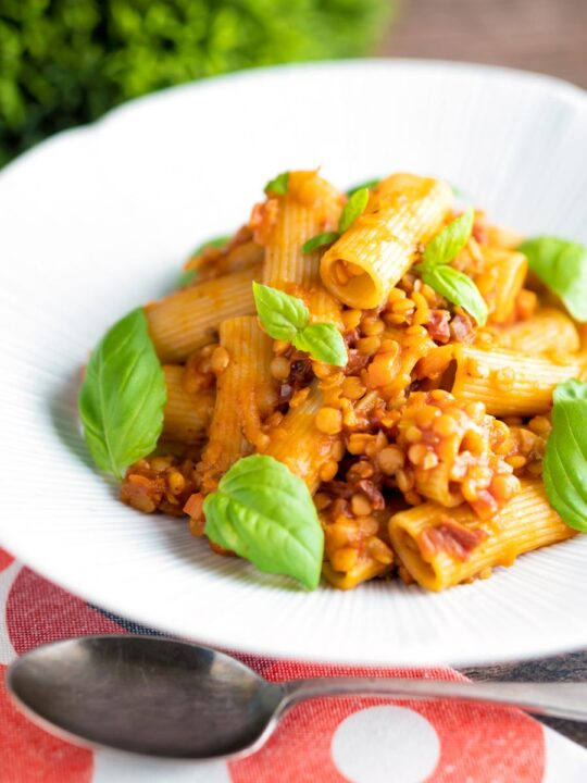 Red lentil ragu or bolognese served with rigatoni pasta with fresh basil leaves.