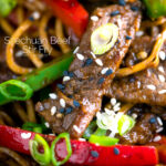 Close up Szechuan beef stir fry with noodles and bell peppers featuring a title overlay
