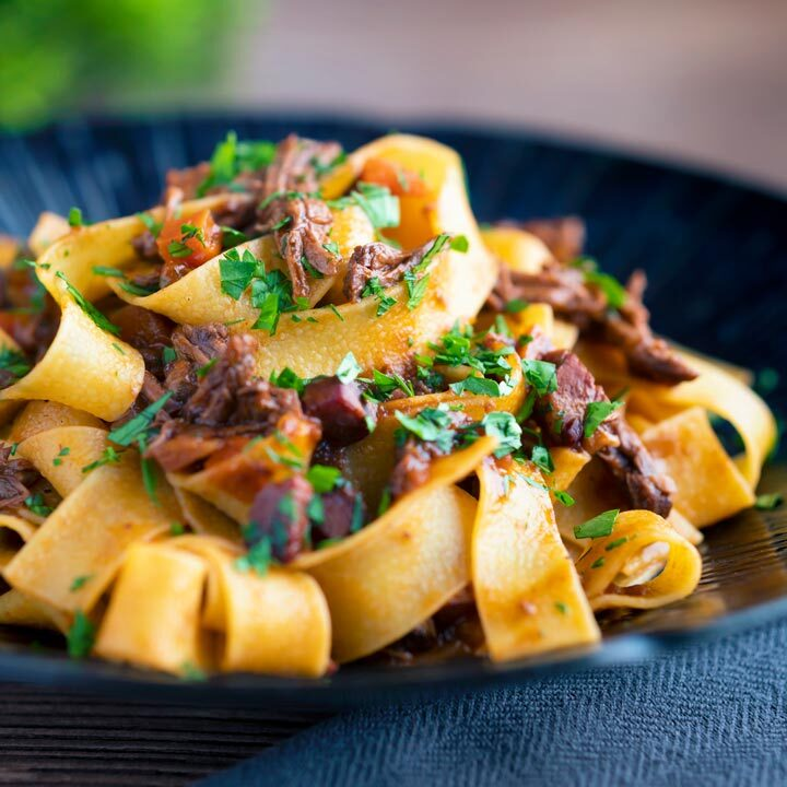 Shredded venison ragu sauce served with pappardelle pasta.