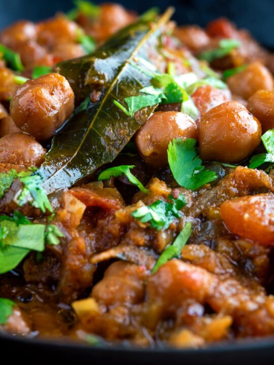 Close up vegan Punjabi chole masala curry or chana masala.