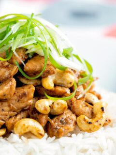 Close up Szechuan chicken with cashew nuts and spring onion served on white rice.