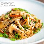 Vegetarian mushroom chow mein noodles served with shredded spring onion featuring a title overlay.