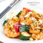 Sweet and sour prawns or shrimp with vegetables and rice featuring a title overlay.