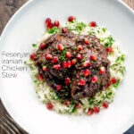 Overhead Iranian fesenjan chicken stew with pomegranate and herbed rice featuring a title overlay.