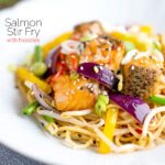 Salmon stir fry with egg noodles and vegetables featuring a title overlay.
