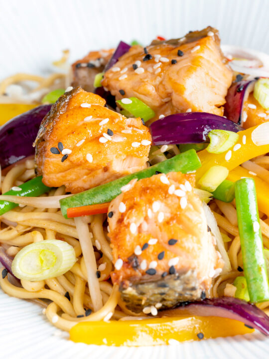 Close up salmon stir fry with egg noodles and vegetables.
