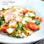 Crunchy & spicy Thai chicken salad with peanuts featuring a title overlay.