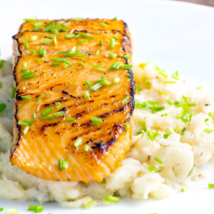 Pan fried honey mustard salmon served on celeriac mash with snipped chives.