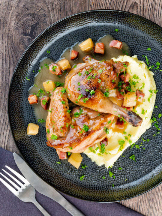 Braised pheasant casserole with a cider gravy, bacon & apples served with mashed potatoes.