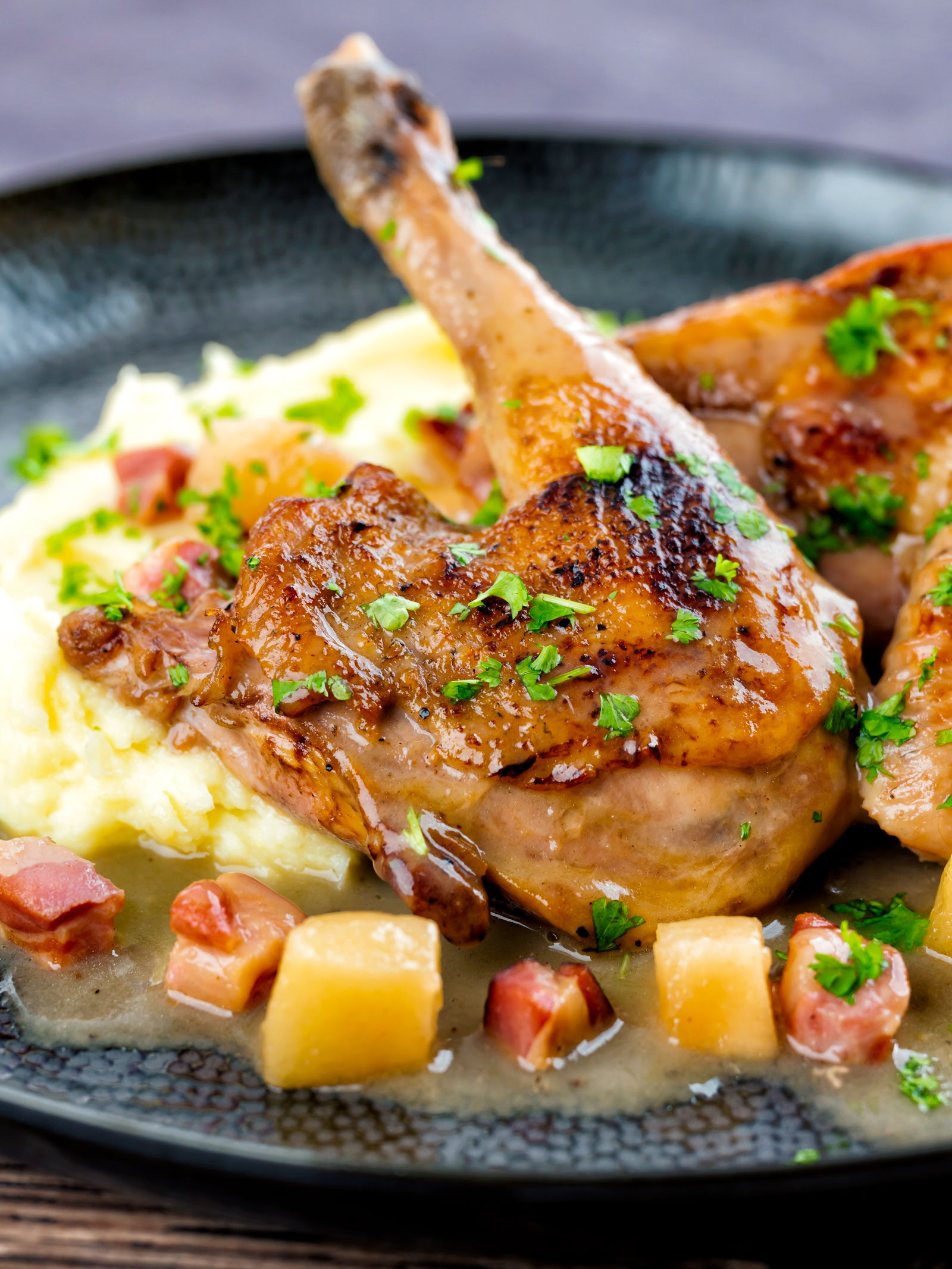 Pheasant casserole with a cider gravy, bacon & apples served with mashed potatoes.