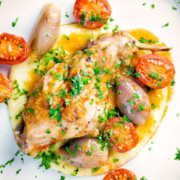 Rabbit Cacciatore or Coniglio alla Cacciatora with shallot, cherry tomatoes and polenta porridge.