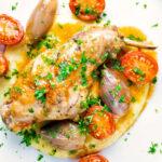 Rabbit Cacciatore or Coniglio alla Cacciatora with shallot and cherry tomatoes featuring a title overlay.