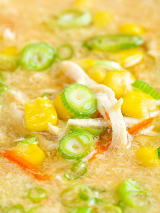 Close up Chinese style chicken and sweetcorn soup with spring onion.